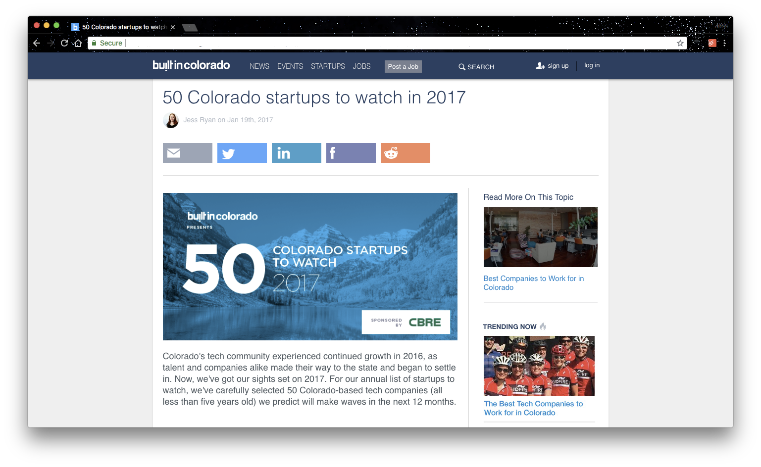 "A screenshot of an older version of Built In Colorado. It depicts an article called ""50 Colorado startups to watch in 2017"""