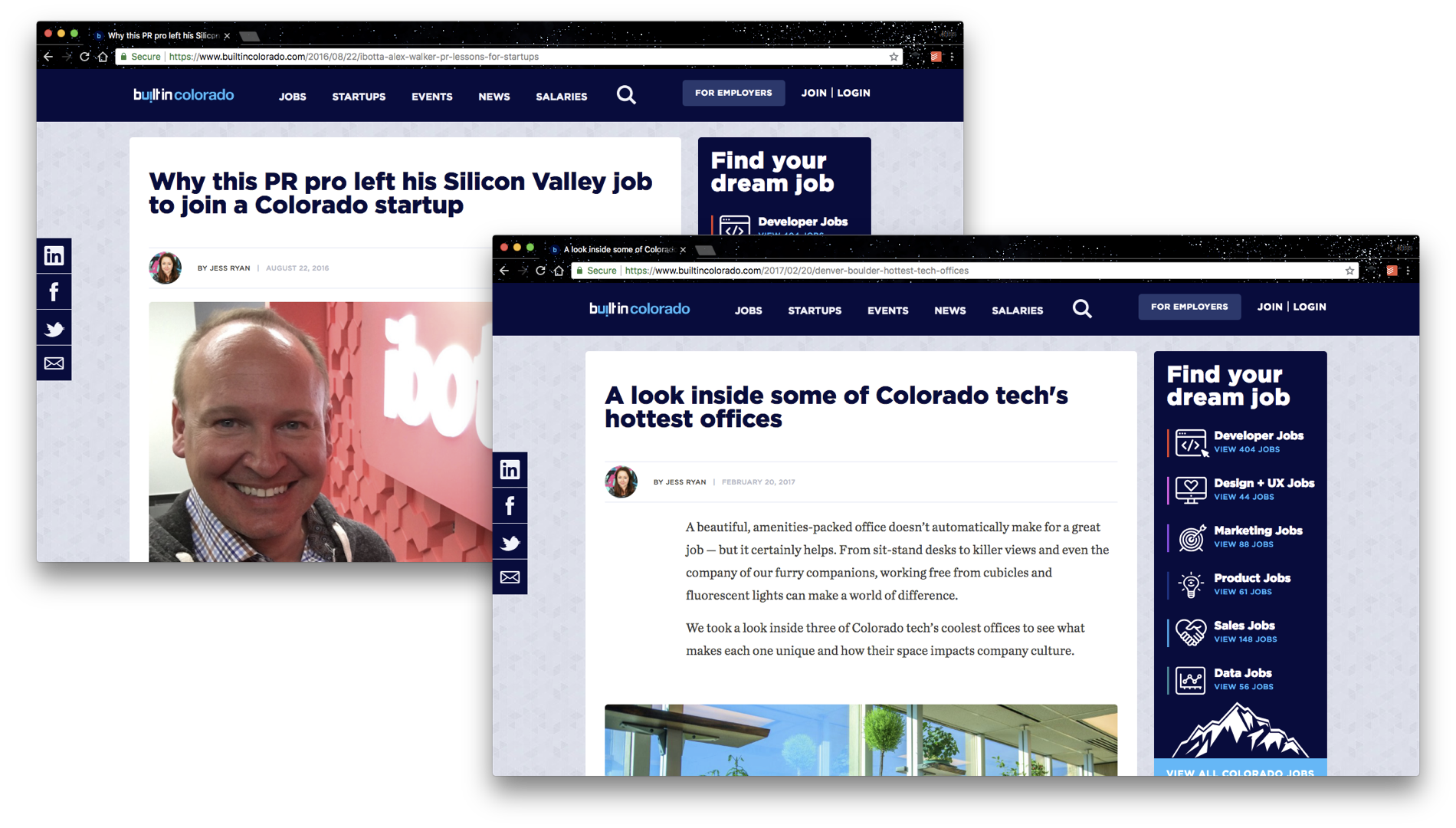 "Screenshots of two pages from Built In Colorado. One is titled ""Why this PR pro left his Silicon Valley job to join a Colorado startup,"" and the other is titled ""A look inside some of Colorado tech's hottest offices."""