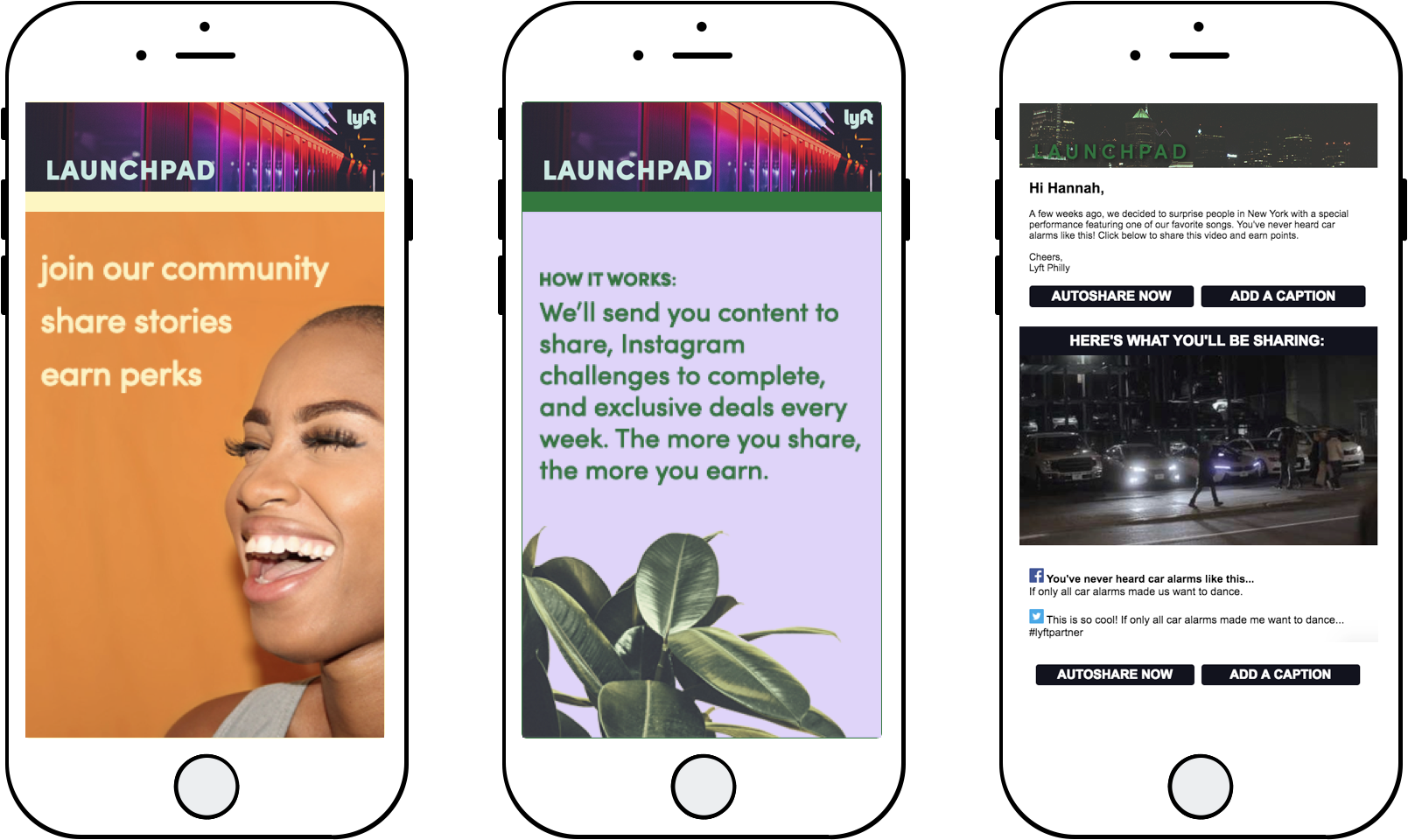 Two mobile screens depicting the Launchpad platform and one depicting an email from Launchpad.
