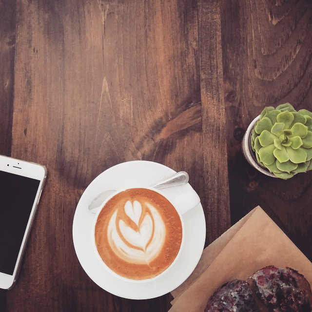 overhead photo of an iphone, a cup of coffee, a muffin and a plant
